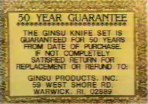 Ginsu Knife 50 Year Guarantee