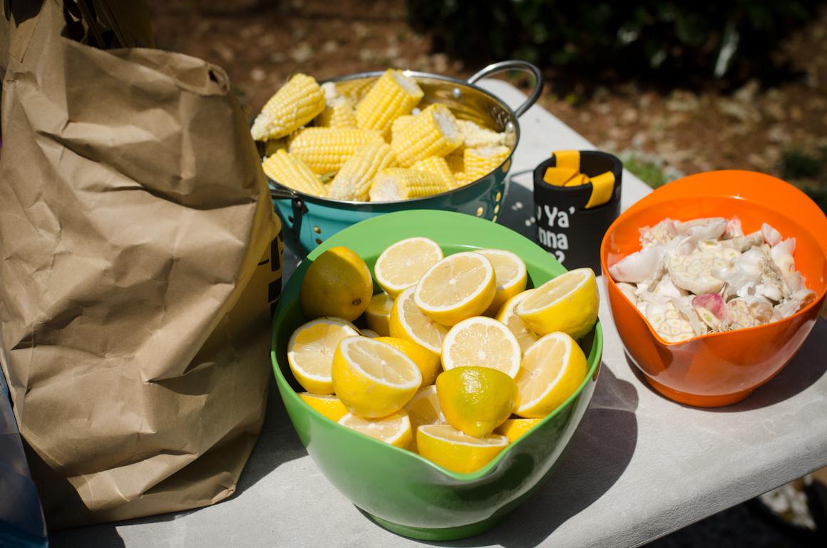 Lemons, corn and fixin's for the crawfish boil